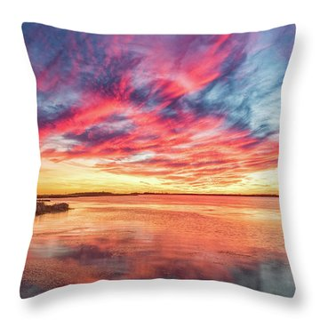 Throw Pillow featuring the photograph Fiery Sky by Russell Pugh