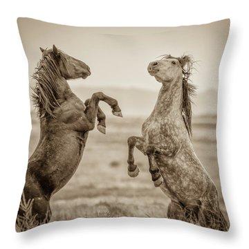 Fighting Stallions 2 Throw Pillow