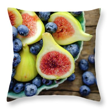 Figs And Blueberries Throw Pillow