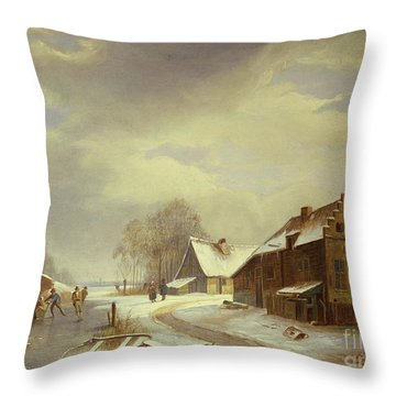 Figures On A Frozen River Estuary  Throw Pillow