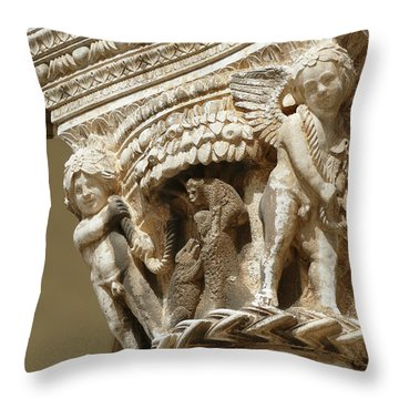 Figures On Capitals Of The Rector's Palace Throw Pillow