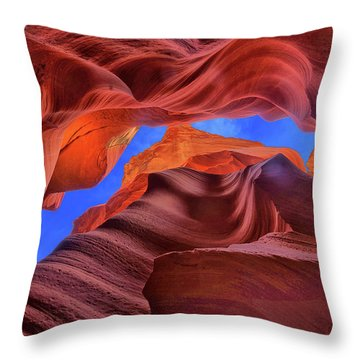 Fire Beneath The Sky In Antelope Canyon Throw Pillow