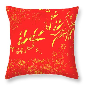 Throw Pillow featuring the painting Fire Birds by Belinda Landtroop