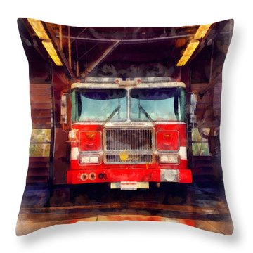 Fire Engine Watercolor Throw Pillow