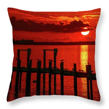 Throw Pillow featuring the photograph Fireball And Pier Sunrise by Tom Claud