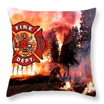 Firefighting 2 Throw Pillow