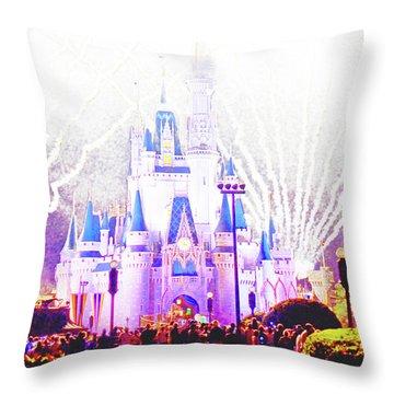 Fireworks, Cinderella's Castle, Magic Kingdom, Walt Disney World Throw Pillow