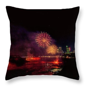 Fireworks Over The Falls. Throw Pillow