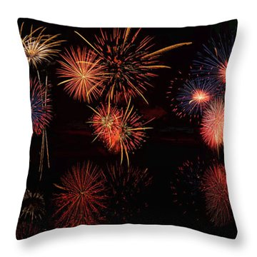Throw Pillow featuring the digital art Fireworks Reflection Panorama by OLena Art Brand
