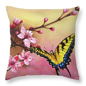 First Blossom Of The Morning Throw Pillow