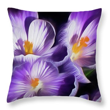 Throw Pillow featuring the mixed media First Crocuses On The Sunny Side Of The Street by Lynda Lehmann
