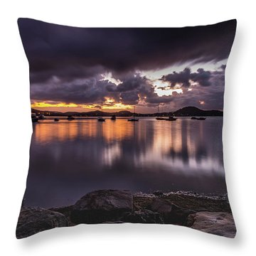 First Light With Heavy Rain Clouds On The Bay Throw Pillow