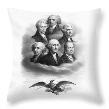 First Six Presidents - Bald Eagle - Vintage Lithograph Throw Pillow
