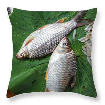 Fish At The Market Throw Pillow