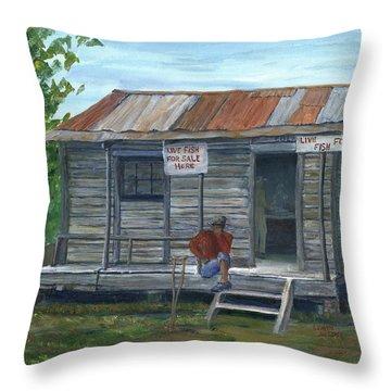 Fish Store, Natchitoches Parish, Louisiana Throw Pillow