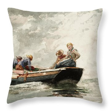 Fisher Folk In A Dory, 1881 Throw Pillow