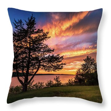 Fishing At End Of Day Throw Pillow