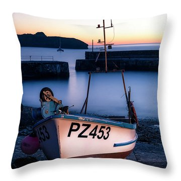 Fishing Boat In Mullion Cove Throw Pillow