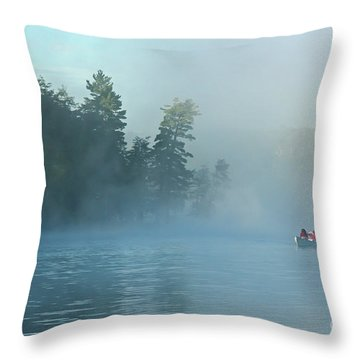Fishing Boat On A Foggy Wilderness Lake  Throw Pillow