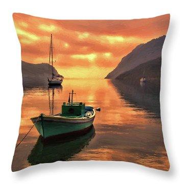Fishing Boats At Sunset Simi Greek Islands-dwp40406001 Throw Pillow