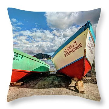 Fishing Boats In Frenchtown Throw Pillow