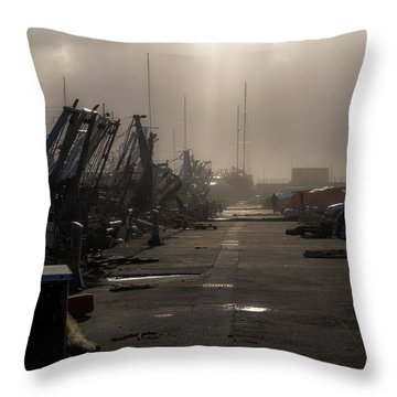 Fishing Boats Moored In The Harbor Throw Pillow