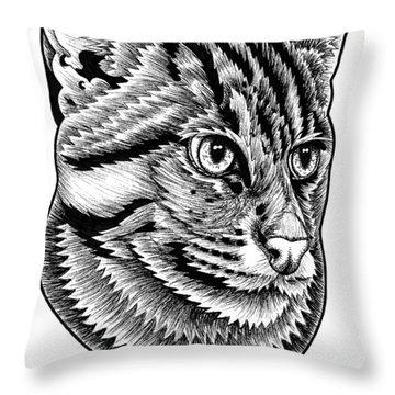 Fishing Cat  Ink Illustration Throw Pillow