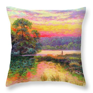 Fishing In Evening Glow Throw Pillow
