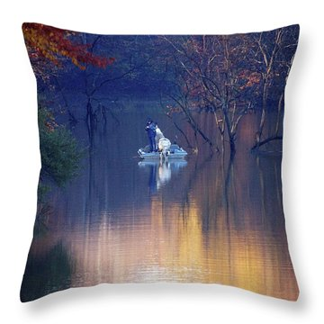 Throw Pillow featuring the photograph Fishing In The Fall by Mike Murdock
