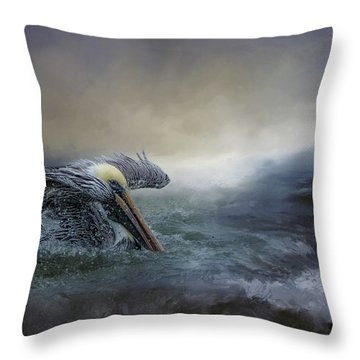 Fishing In The Storm Throw Pillow