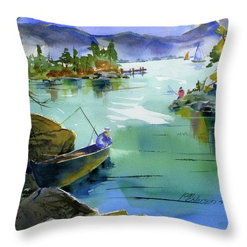 Fishing Lake Tahoe Throw Pillow