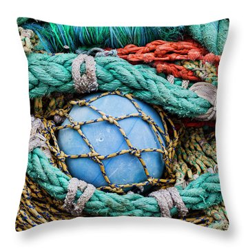 Fishing Nets And Blue Float 7904 Throw Pillow