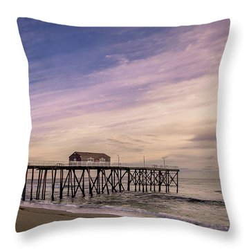 Fishing Pier Sunrise Throw Pillow