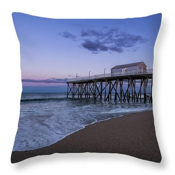 Throw Pillow featuring the photograph Fishing Pier Sunset by Steve Stanger