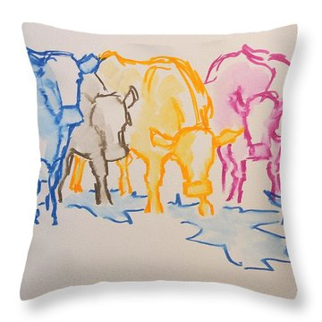 Five Cows Five Colors Watercolor Line Drawing Throw Pillow