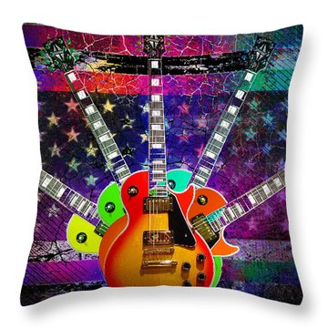 Five Guitars Throw Pillow