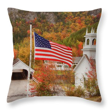 Flag Flying Over The Stark Covered Bridge Throw Pillow