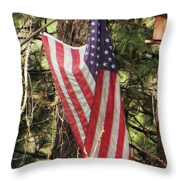 Flag In The Woods Throw Pillow