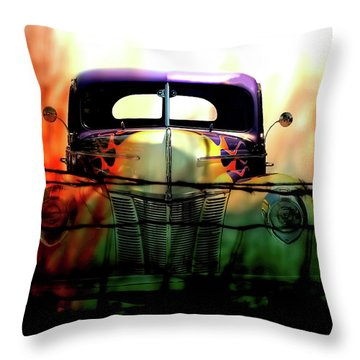 Flamed And Barbed Vintage Car Throw Pillow