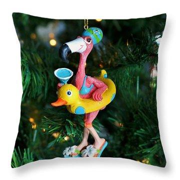 Flamingo Swimmer Throw Pillow