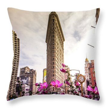 Flatiron And Flowers Throw Pillow