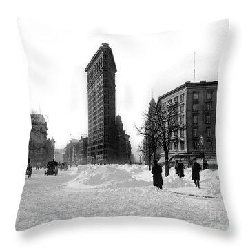 Flatiron In The Snow Throw Pillow