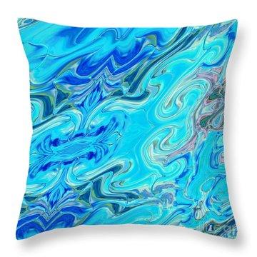 Throw Pillow featuring the digital art Fleurs Dans Les Vagues by A zakaria Mami