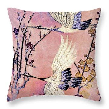 Flight Of The Cranes - Kimono Series Throw Pillow