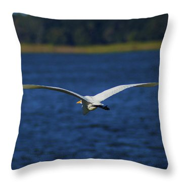 Flight Of The Egret Throw Pillow