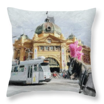 Flinders Street Station, Melbourne Throw Pillow