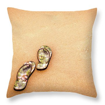 Flip-flops On The Sand. Throw Pillow