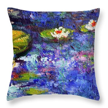Floating Lilies Oil Painting Throw Pillow