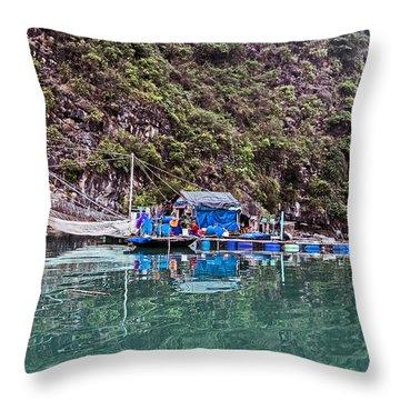 Floating Market - Halong Bay, Vietnam Throw Pillow