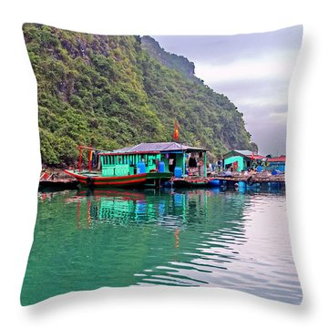 Floating Market In Halong Bay, Vietnam Throw Pillow